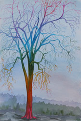 Watercolor painting Surreal Tree No.3