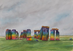 Watercolor painting Stonehenge Rainbow