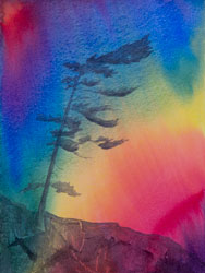 Watercolor painting Surreal Tree No.1