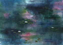 Watercolor painting Water Lily Pond