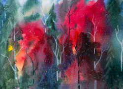 Watercolor painting red Fall Colours