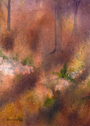 Watercolor painting Forest Floor
