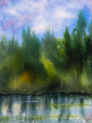 Watercolor painting Lake reflecting trees