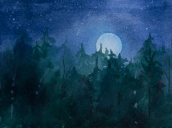 Watercolor painting Moon Setting over dark Forest