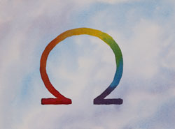 Watercolor painting Omega Rainbow