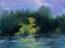 Watercolor painting Sunlit Island