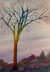 Watercolor painting Surreal Tree No.2